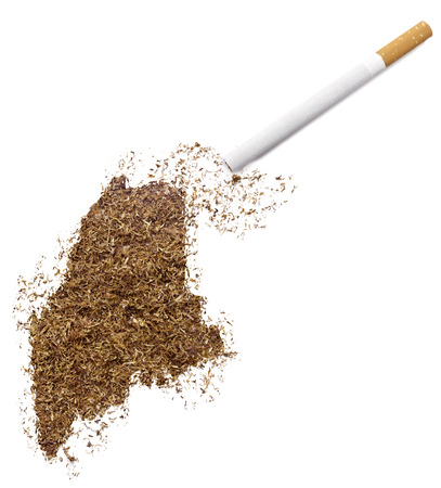 ciggy: The country shape of Maine made of tobacco and a cigarette.(series)
