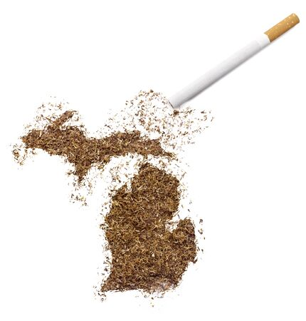ciggy: The country shape of Michigan made of tobacco and a cigarette.(series)