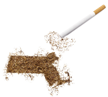 ciggy: The country shape of Massachusetts made of tobacco and a cigarette.(series) Stock Photo