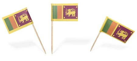 sri lankan flag: Small cocktail flags of Sri Lanka in different positions isolated on white.(series) . Also easy to use as a design element :) Stock Photo