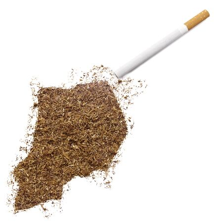 ciggy: The country shape of Uganda made of tobacco and a cigarette.(series)