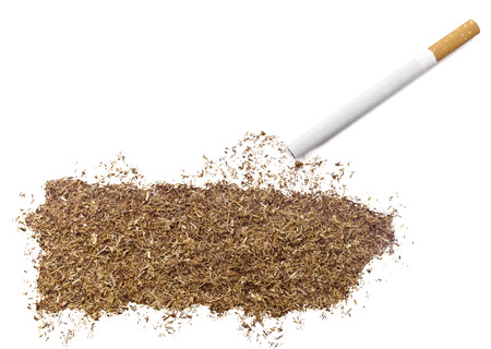 ciggy: The country shape of Puerto Rico made of tobacco and a cigarette.(series)