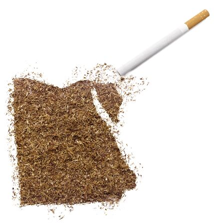 ciggy: The country shape of Egypt made of tobacco and a cigarette.(series) Stock Photo