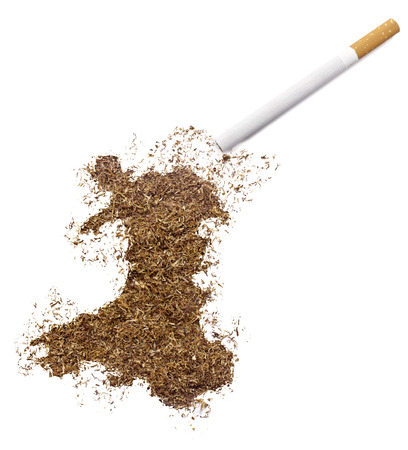 ciggy: The country shape of Wales made of tobacco and a cigarette.(series)