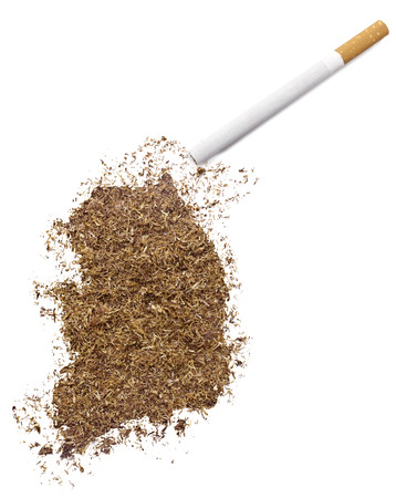 ciggy: The country shape of South Korea made of tobacco and a cigarette.(series) Stock Photo