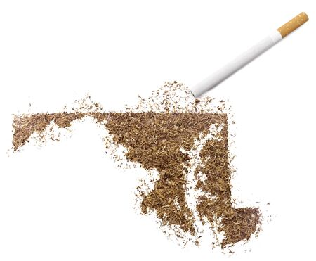 ciggy: The country shape of Maryland made of tobacco and a cigarette.(series) Stock Photo