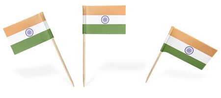 indian flag: Small cocktail flags of India in different positions isolated on white.(series) . Also easy to use as a design element :) Stock Photo