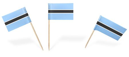 botswanan: Small cocktail flags of Botswana in different positions isolated on white.(series) . Also easy to use as a design element :)
