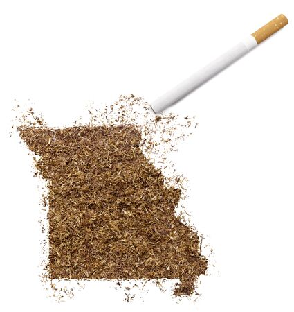 ciggy: The country shape of Missouri made of tobacco and a cigarette.(series)