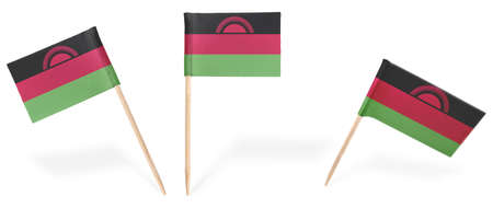 malawian flag: Small cocktail flags of Malawi in different positions isolated on white.(series) . Also easy to use as a design element :) Stock Photo