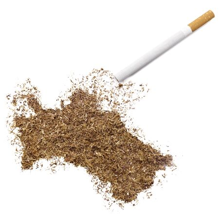 ciggy: The country shape of Turkmenistan made of tobacco and a cigarette.(series)