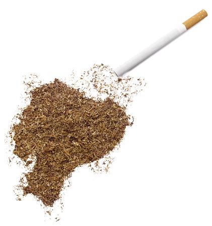 ciggy: The country shape of Ecuador made of tobacco and a cigarette.(series)