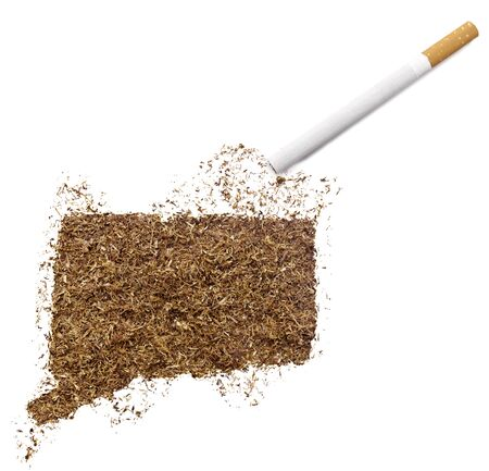 ciggy: The country shape of Connecticut made of tobacco and a cigarette.(series)