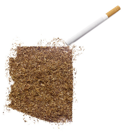 ciggy: The country shape of Arizona made of tobacco and a cigarette.(series)