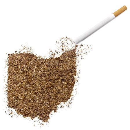 ciggy: The country shape of Ohio made of tobacco and a cigarette.(series)