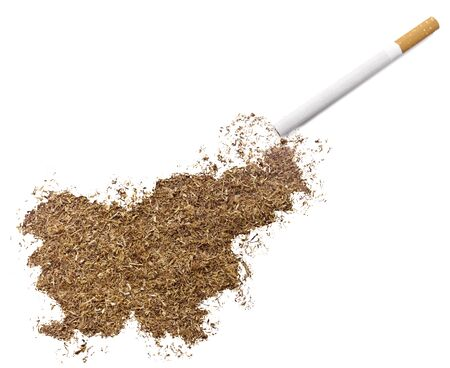 ciggy: The country shape of Slovenia made of tobacco and a cigarette.(series)