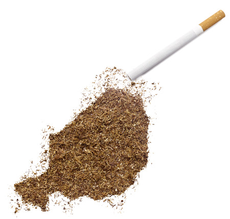 ciggy: The country shape of Niger made of tobacco and a cigarette.(series) Stock Photo