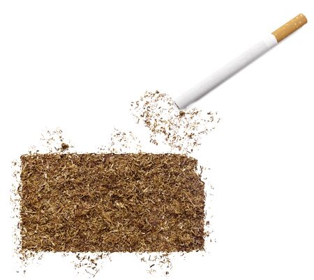 ciggy: The country shape of Kansas made of tobacco and a cigarette. Stock Photo