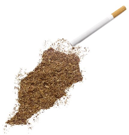 made in morocco: The country shape of Morocco made of tobacco and a cigarette. Stock Photo