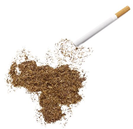 ciggy: The country shape of Venezuela made of tobacco and a cigarette.