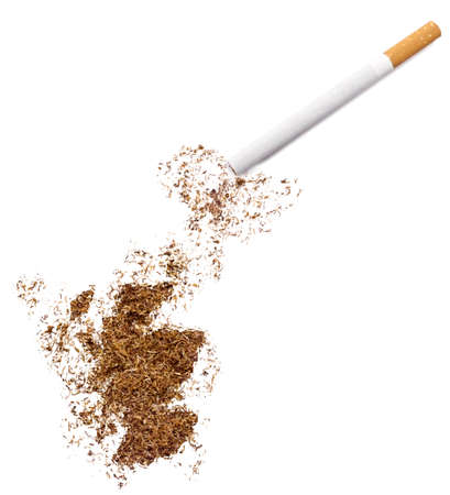 ciggy: The country shape of Scotland made of tobacco and a cigarette.