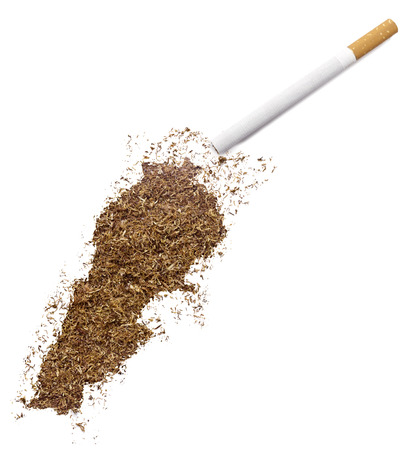 ciggy: The country shape of Lebanon made of tobacco and a cigarette.(series)