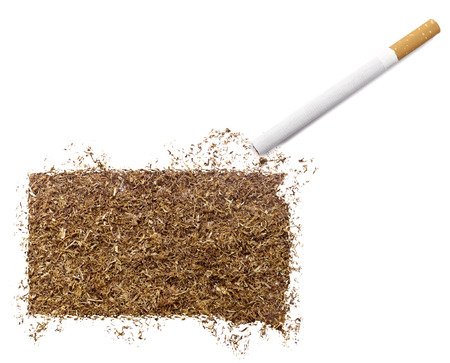 ciggy: The country shape of South Dakota made of tobacco and a cigarette.(series)