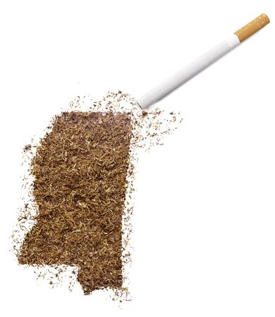 ciggy: The country shape of Mississippi made of tobacco and a cigarette.(series)