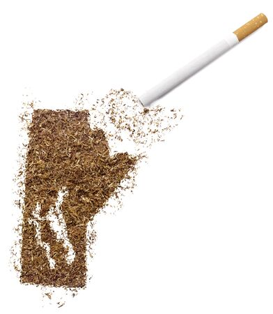 manitoba: The country shape of Manitoba made of tobacco and a cigarette.(series)