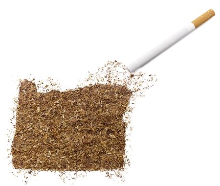 ciggy: The country shape of Oregon made of tobacco and a cigarette.(series)