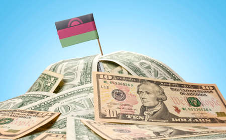 malawian: The national flag of Malawi sticking in a pile of american dollars