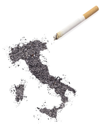 ciggy: The country shape of Italy made of tobacco ash and a cigarette.(series)