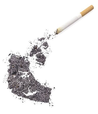 ciggy: The country shape of Northwest Territories made of tobacco ash and a cigarette.(series)