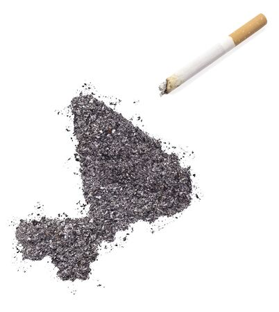 ciggy: The country shape of Mali made of tobacco ash and a cigarette.(series)