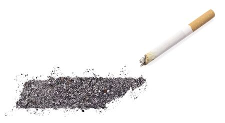 ciggy: The country shape of Tennessee made of tobacco ash and a cigarette.(series) Stock Photo