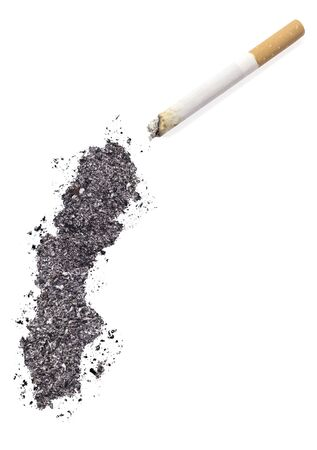 ciggy: The country shape of Sweden made of tobacco ash and a cigarette.(series)