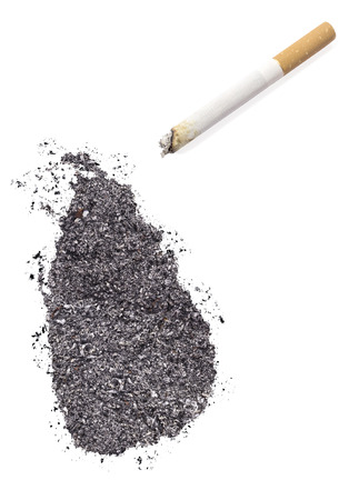 ciggy: The country shape of Sri Lanka made of tobacco ash and a cigarette.(series)