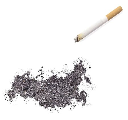 ciggy: The country shape of Russia made of tobacco ash and a cigarette.(series)