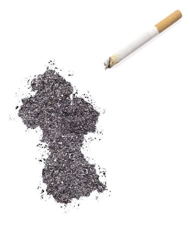 ciggy: The country shape of Guyana made of tobacco ash and a cigarette.(series)