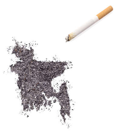 ciggy: The country shape of Bangladesh made of tobacco ash and a cigarette.(series) Stock Photo