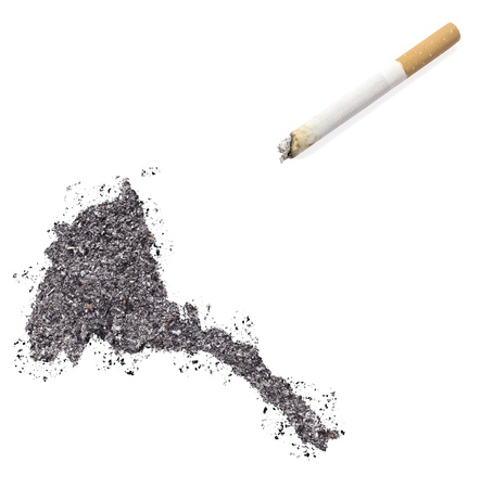 ciggy: The country shape of Eritrea made of tobacco ash and a cigarette.(series)