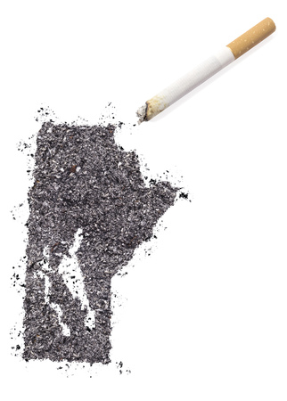 ciggy: The country shape of Manitoba made of tobacco ash and a cigarette.(series)
