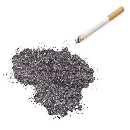 ciggy: The country shape of Lithuania made of tobacco ash and a cigarette.(series)