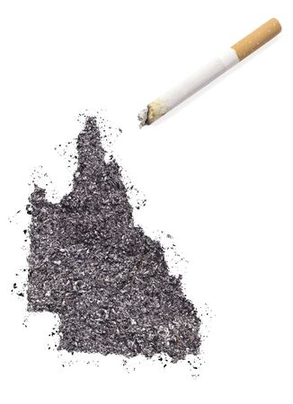 ciggy: The country shape of Queensland made of tobacco ash and a cigarette.(series)
