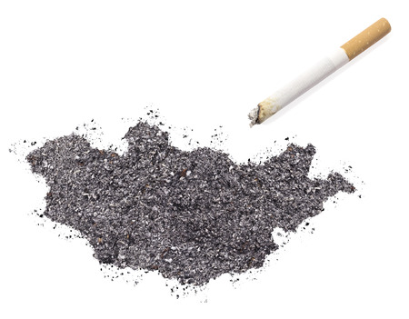 ciggy: The country shape of Mongolia made of tobacco ash and a cigarette.(series)
