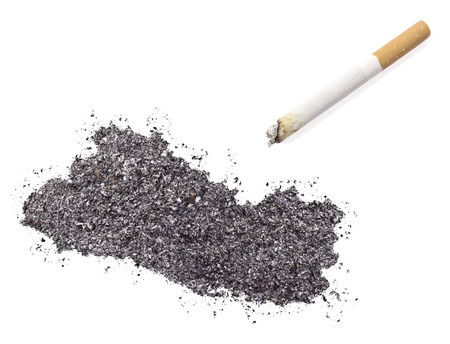ciggy: The country shape of El Salvador made of tobacco ash and a cigarette.(series) Stock Photo