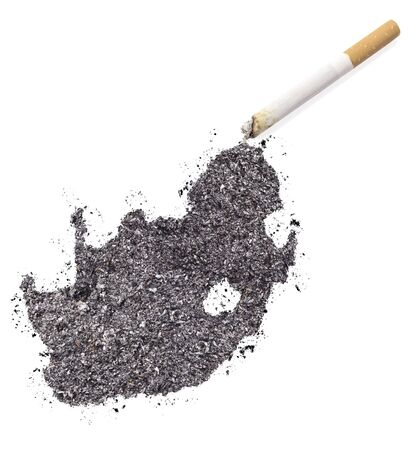 ciggy: The country shape of South Africa made of tobacco ash and a cigarette.(series)