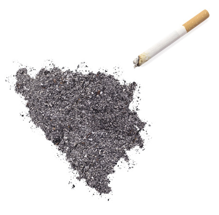 ciggy: The country shape of Bosnia and Herzegovina made of tobacco ash and a cigarette.(series)