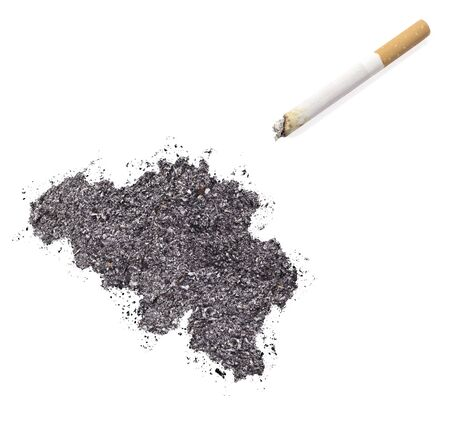 ciggy: The country shape of Belgium made of tobacco ash and a cigarette.(series)