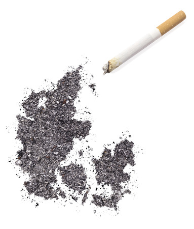 ciggy: The country shape of Denmark made of tobacco ash and a cigarette.(series)